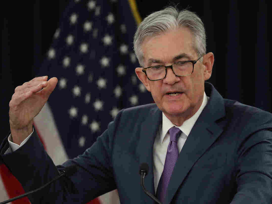 Federal Reserve Board Chairman Jerome Powell speaks during a news conference after attending the board's two-day meeting on July 31. Powell announced that the Fed agreed to cut interest rates by a quarter of a point, which is the first rate cut since 2008.