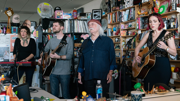David Crosby and The Lighthouse Band performs a Tiny Desk Concert on Nov. 29, 2018 (Cameron Pollack/NPR).