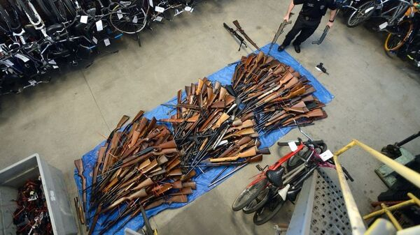 Guns collected in an effort to buy back firearms in Anaheim, Calif., in 2016. The police department obtained 676 guns and gave out $100 gift cards in exchange. The U.S. rate of deaths from gun violence, at 4.43 deaths per 100,000 people, it is four times higher than the rates in war-torn Syria and Yemen.