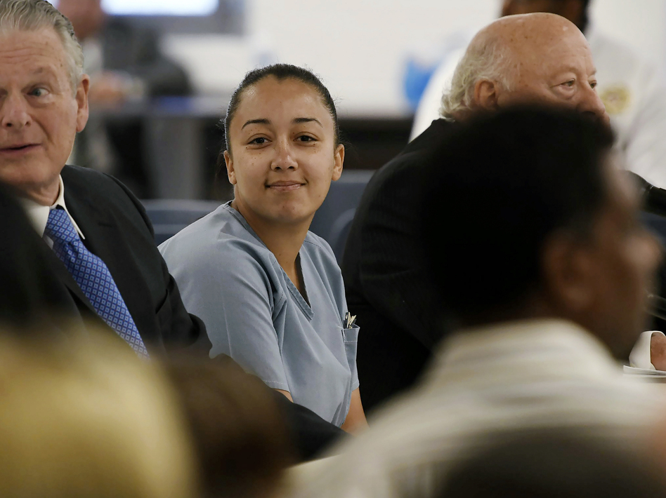 Cyntoia Brown, a woman serving a life sentence for killing a man when she was 16, appeared during her clemency hearing in May 2018. Brown and her supporters for years have maintained that the 2004 killing was an act of self-defense. (Lacy Atkins/AP)