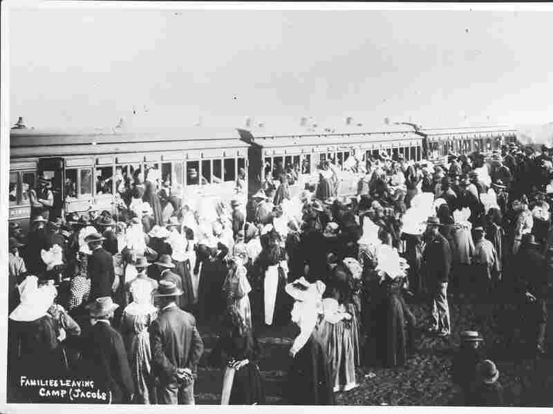 Boer families leaving a concentration camp, 1901.