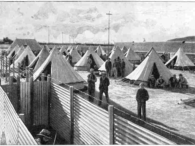 Boer prisoners in a camp at Bloemfontein during the Second Boer War, 1899-1902.
