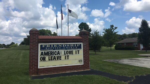 """Pastor Earnie Lucas of Friendship Baptist Church in Appomattox, Va., posted this message on his church sign around the same time that President Trump tweeted that four Democratic members of Congress — all women of color — should """"go back and help fix the totally broken and crime infested places from which they came."""""""