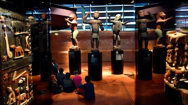 Big royal statues from the Kingdom of Dahomey, in present-day Benin, are pictured in 2018 at the Quai Branly Museum in Paris.