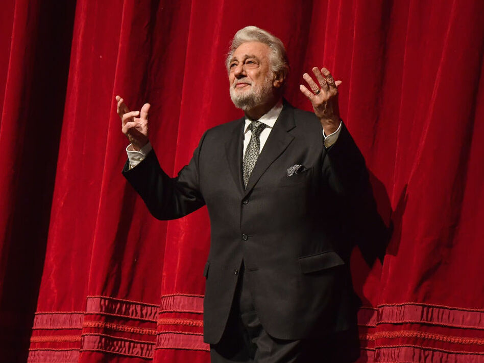 Plácido Domingo, onstage at New York's Metropolitan Opera last year. Nine women have accused Domingo of trying to pressure them into a sexual relationship by offering them jobs. (Angela Weiss/AFP/Getty Images)