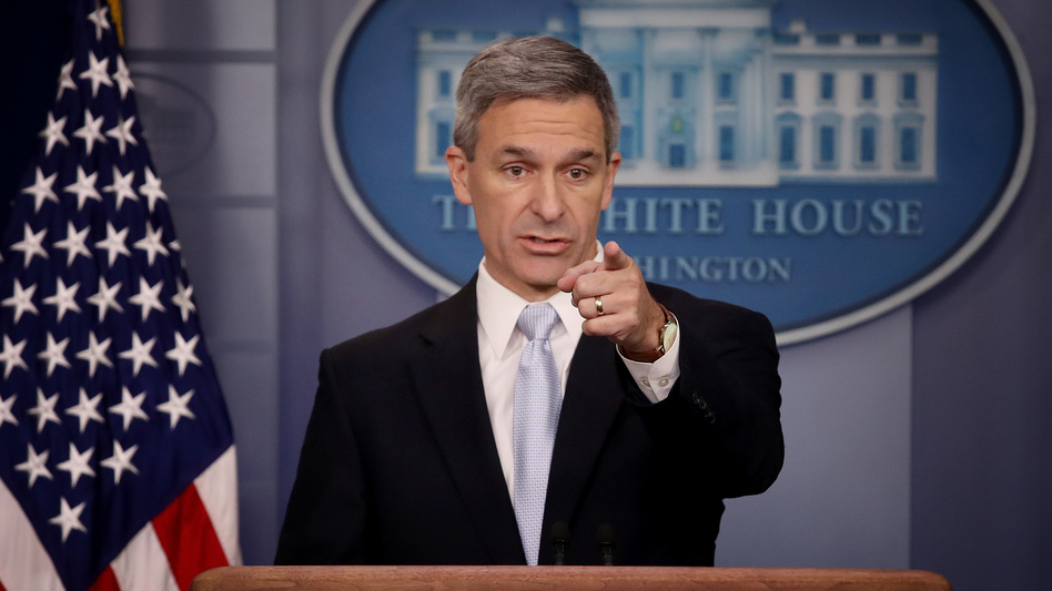 Ken Cuccinelli, the acting director of U.S. Citizenship and Immigration Services, said Monday at the White House that immigrants legally in the U.S. may no longer be eligible for green cards if they use food stamps, Medicaid and other public benefits. (Win McNamee/Getty Images)