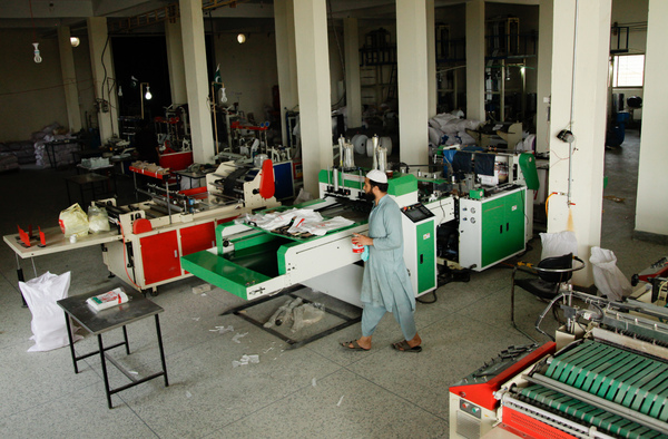 News of a ban on single-use plastic bags has caused sales to slump at this plastic bag factory near Islamabad.