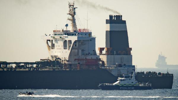 A Royal Marine patrol vessel is seen beside Iran