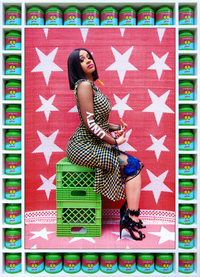Hassan Hajjaj, born in Morocco in 1961, is often called the Andy Warhol of Marrakesh for his fusion of glamour and everyday life. Both are evident in his 2017 portrait <em>Cardi B Unity. </em>The rap star, dressed in a high-fashion outfit, sits on utilitarian green plastic cartons against a textured fabric backdrop. The frame consists of tins of green tea, each decorated with a butterfly.
