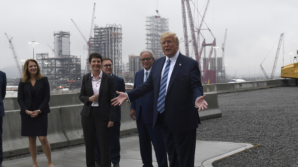 President Donald Trump speaks while on a tour of Shell