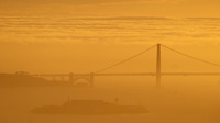 """A sea of fog advances on the Golden Gate Bridge during a late winter twilight in 2016. On Saturday, the operators of <a href=""""http://www.fogcam.org/"""">FogCam</a> said the long-running webcam at San Francisco State University will sunset """"forever"""" at the end of August."""