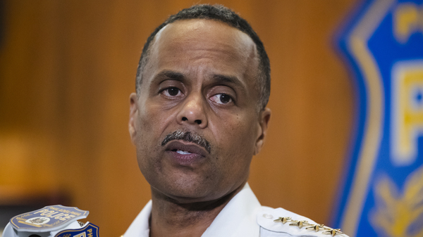 Philadelphia Police Commissioner Richard Ross speaking during a news conference in Philadelphia on July 18. He abruptly resigned Tuesday.