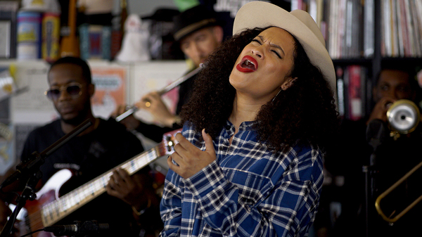 Nicole Bus plays a Tiny Desk Concert on July 8, 2019 (Olivia Falcigno/NPR).