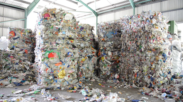 Collected material, including plastics, is baled at TerraCycle.