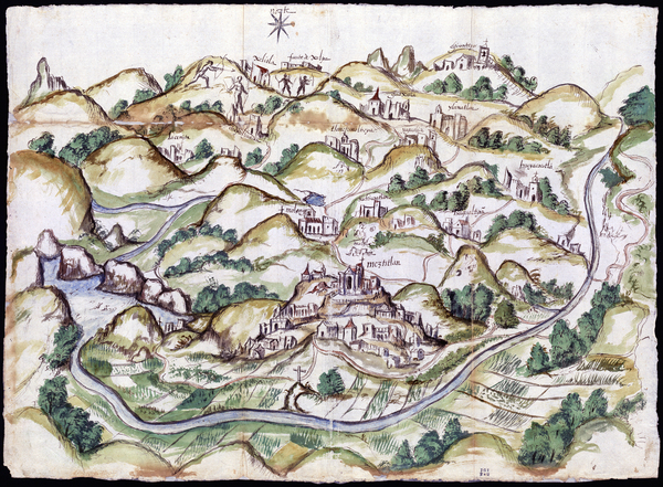 The Mapping Memory exhibition in at the Blanton Museum of Art in Austin, Texas, displays maps made in the late 1500s of what is now Mexico. They were created by indigenous peoples to help Spanish invaders map occupied lands. This watercolor and ink map of Meztitlán was made in 1579 by Gabriel de Chavez.