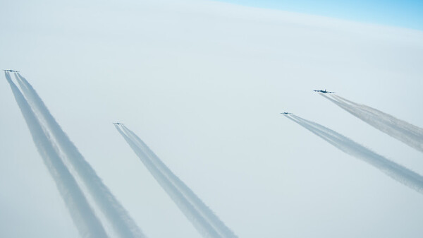 Four B-52 Stratofortresses deployed from Barksdale Air Force Base, La., fly a sortie over Norway, March 28, 2019. Bombers like these flew from Greenland during the Cold War.
