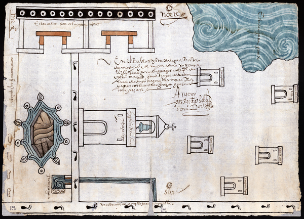 "Martín Cano's watercolor and ink map of Ixtapalapa, made in 1580, shows a lagoon in one corner. Ixtapalapa means ""water near the flat stones,"" Granados explains."