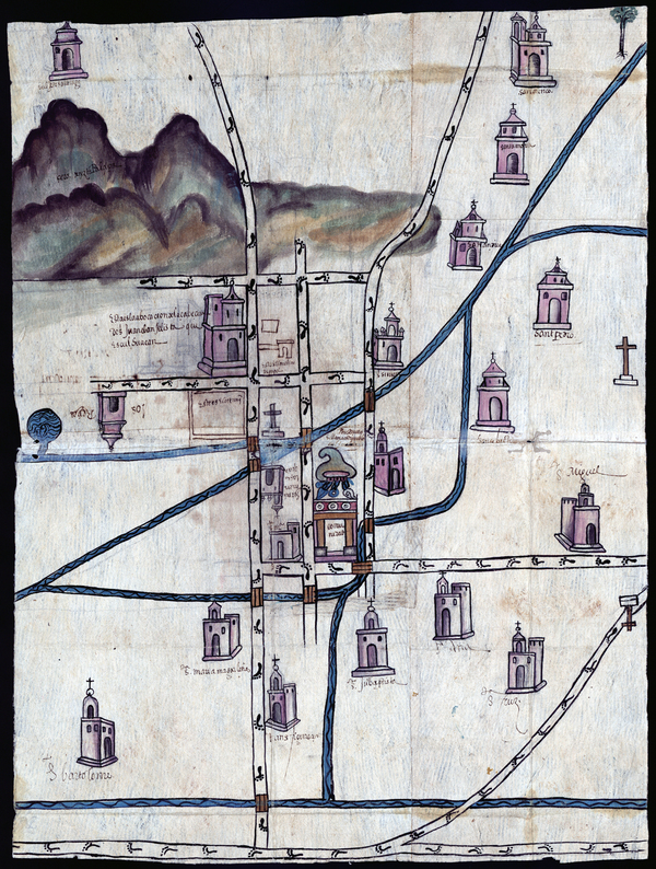 "Pedro de San Agustín created this watercolor map of Culhuacán in 1580. He was a judge — a powerful figure in the town. ""Before the conquest, nobles were the only ones trained as painters,"" exhibit curator Rosario Granados explains. She notes that this map is made on bark paper, the traditional material used before the Spaniards arrived."