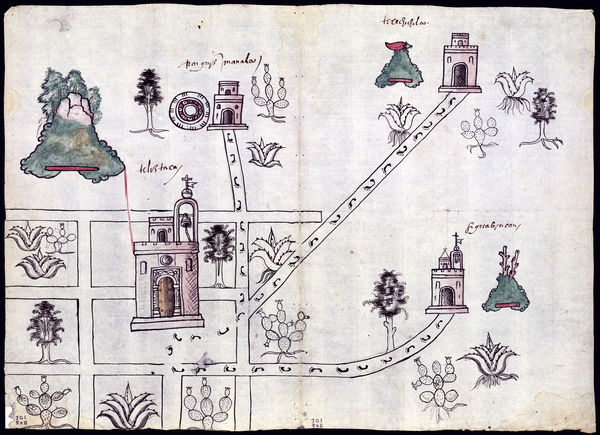 "This watercolor map of Tetliztaca, made in 1581, is an example of the merging of indigenous and Western painting traditions, says Rosario Granados. In keeping with indigenous tradition, plants are depicted with roots, but the detail is ""similar to what you could find in botanical treatises,"" she says. She points to the three-dimensional shading of the churches as evidence of European influence."