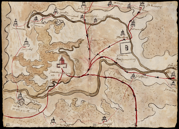 "This 1579 watercolor and ink map of Gueguetlan has notations the provide guidance about a town being ""in a very low area"" or being a ""dangerous place."" The inscriptions are in an indigenous language that Europeans wouldn't understand. Granados asks: ""Who were these inscriptions written for if they knew that no one but themselves would make sense of them?"""