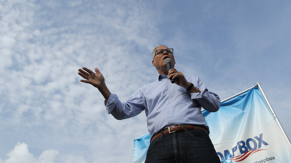 Washington Gov. Jay Inslee at the Iowa State Fair in Des Moines earlier this month. (John Locher/AP)