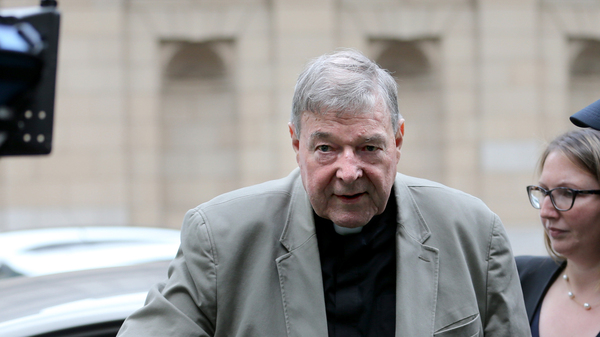 Cardinal George Pell arrives at the Victorian County Court in  Melbourne, Victoria, in February. Pell