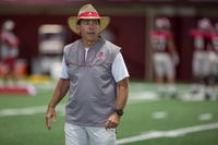 Alabama Coach Nick Saban roams the field during practice in Tuscaloosa. The Crimson Tide enters the season ranked No. 2 and aiming to reclaim its national championship throne.