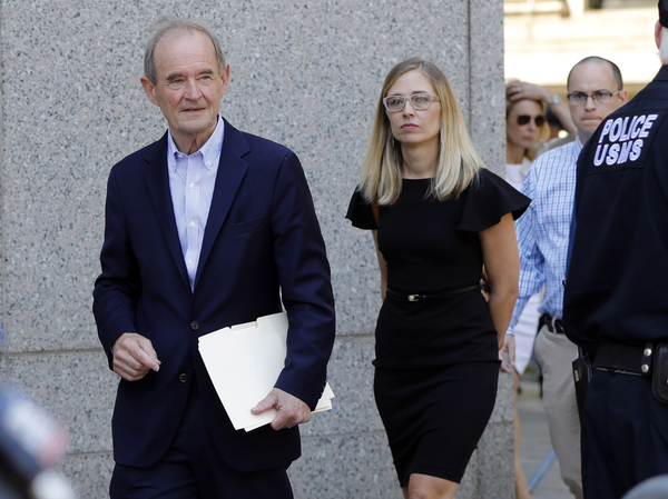Attorney David Boies (left) and Annie Farmer, one of Jeffrey Epstein's accusers, walk to a news conference outside federal court in New York on July 15.