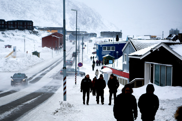 The capital of Greenland is also its largest city — Nuuk has a population of about 18,000. Aqqusinersuaq Road (above) leads into the city center.