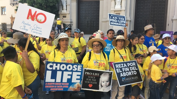 Abortion opponents in Sacramento, Calif., protest legislation that would require public university campuses in California to provide the pills used in medication abortion.