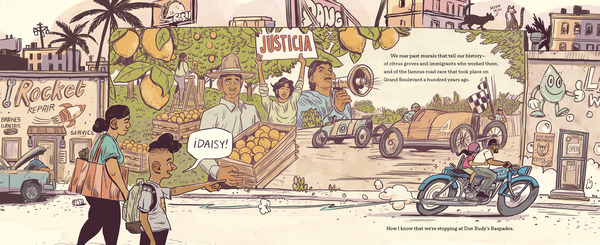My Papi Has a Motorcycle, by Isabel Quintero and Zeke Peña, pays tribute to the rapidly-changing city of Corona, Calif., where Quintero grew up.