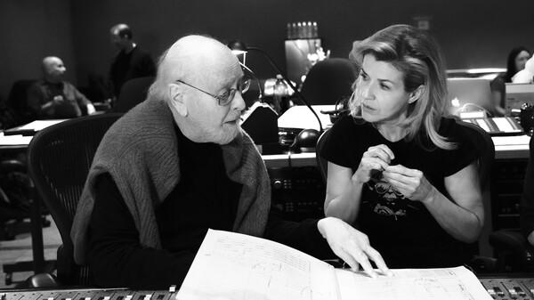 Composer John Williams and violinist Anne-Sophie Mutter during a studio session for Across the Stars.