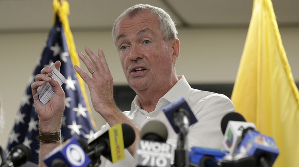 New Jersey Gov. Phil Murphy, pictured on Aug. 14, thanked city and county officials on Monday for partnering to expedite a 10-year lead pipe replacement program.