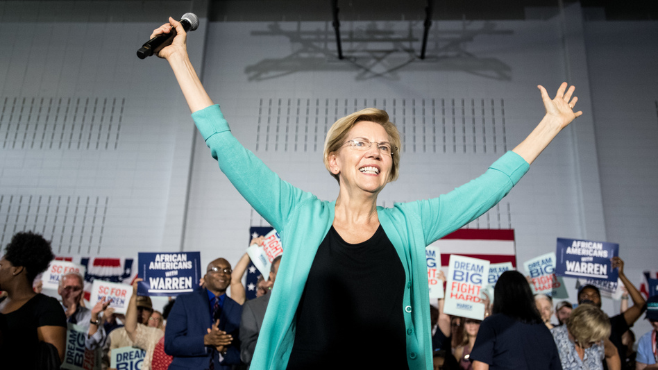 Democratic presidential candidate Sen. Elizabeth Warren, D-Mass., addresses a crowd at a town hall event on Aug. 17 in Aiken, S.C. (Sean Rayford/Getty Images)