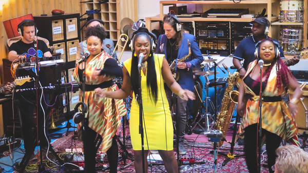 Ibibio Sound Machine performing in the Pool Recording Studio in London