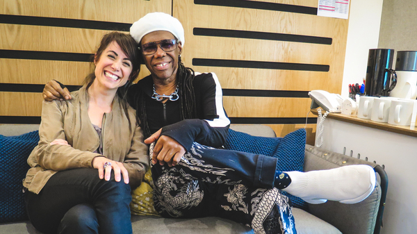 World Cafe Host Talia Schlanger (left) with Nile Rodgers. (right)