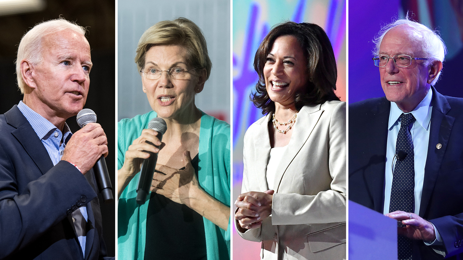 Former Vice President Joe Biden (left), Sen. Elizabeth Warren, Sen. Kamala Harris and Sen. Bernie Sanders are among the Democratic candidates running for president. (Sean Rayford, Paras Griffin, Joe Raedle/Getty Images)