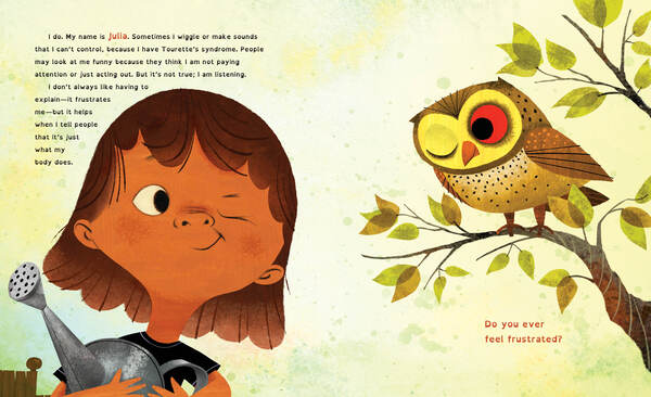 An illustration of a child winking at an owl.