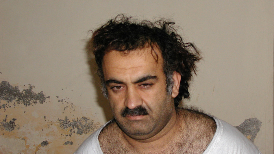 Khalid Sheikh Mohammed, seen shortly after his capture during a 2003 raid in Pakistan, is accused of masterminding the Sept. 11, 2001, terrorist attacks that killed nearly 3,000 people. (AP)