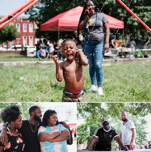 Top, children in Franklin Square play in a temporary splash park. Far left, Jami (left), Louis (center), and Shakira Franklin (right) joke with their neighbors. Right, Thelma Terrell (left) and Daniel Greenspan (right) discuss park design proposals.