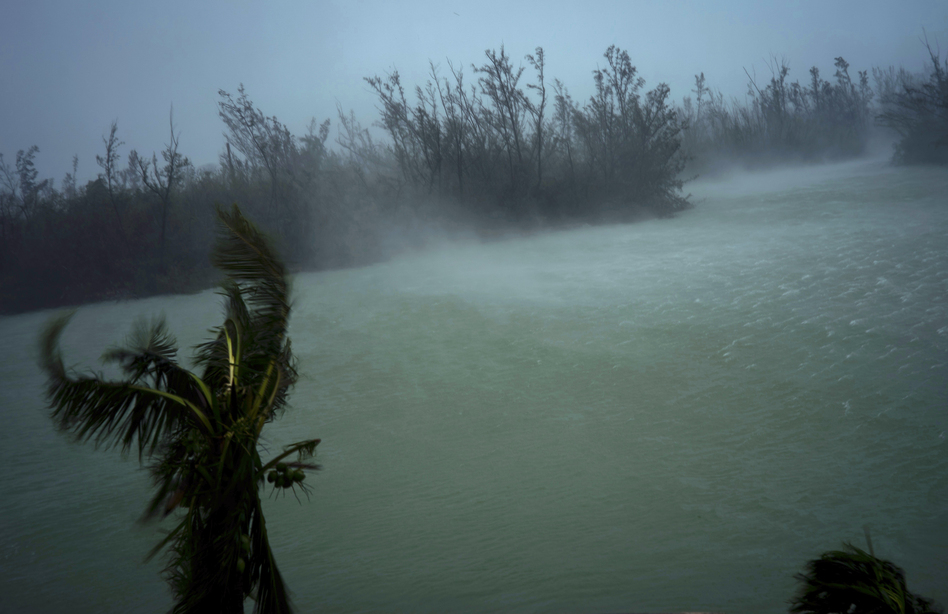 Strong winds seen from the balcony of a hotel in Freeport, Grand Bahama, where Hurricane Dorian hovered most of Monday, pummeling the islands with a fearsome Category 4 assault. (Ramon Espinosa/AP)