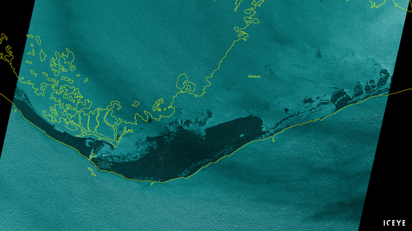 An satellite image from the company ICEYE shows flooding on Grand Bahama on Monday. The satellite uses radar to look through the clouds.