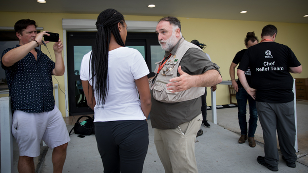 Chef José Andrés is interviewed by ABC News' Stephanie Wash before he leaves for his first mission to deliver food to stranded Bahamians who survived Hurricane Dorian.