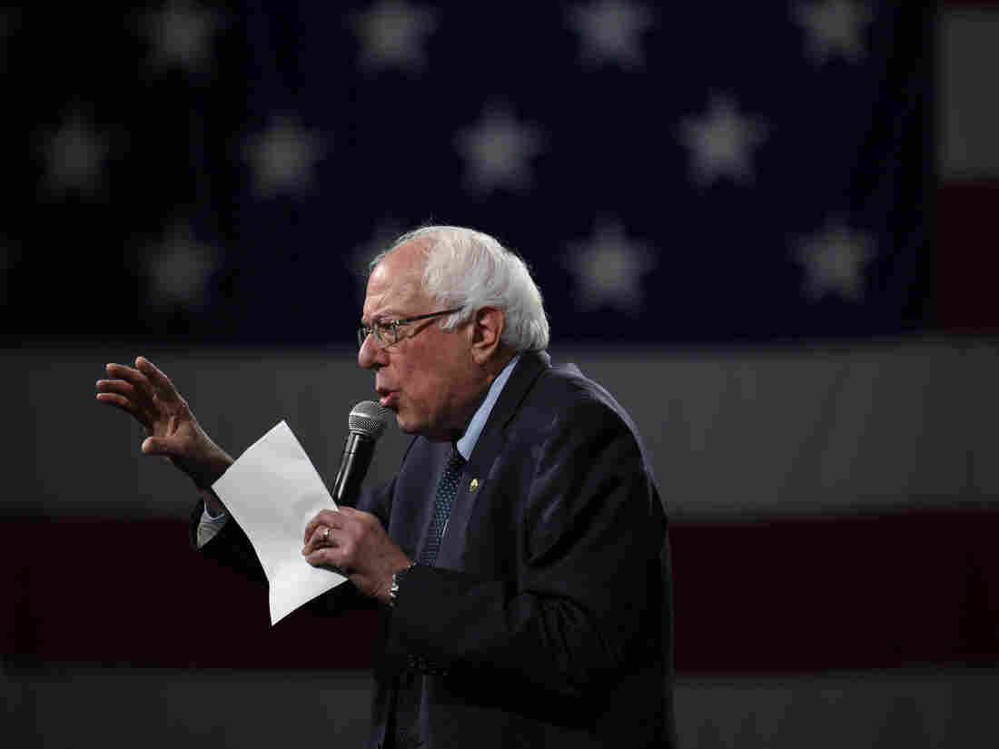 DES MOINES, IA - AUGUST 10: Democratic presidential candidate Sen. Bernie Sanders (I-VT) speaks on stage during a forum on gun safety at the Iowa Events Center (Photo by Stephen Maturen/Getty Images)