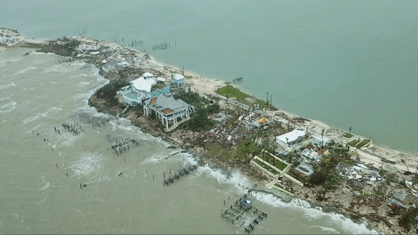 An aerial view shows devastation after Hurricane Dorian hit the Abaco Islands in the Bahamas on Tuesday.