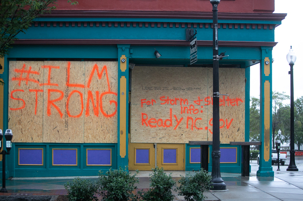 A building is boarded up in downtown Wilmington, N.C., on Thursday. Landfall remains possible Thursday — and if Dorian strengthens a bit and its eye reaches the coast, it could be just the fifth hurricane of Category 3 or higher to hit South or North Carolina since 1950.