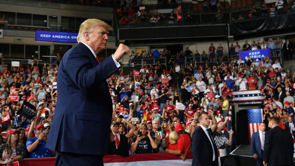 President Trump walks off stage after a campaign rally at the SNHU Arena in Manchester, N.H., last month. (Nicholas Kamm/AFP/Getty Images)