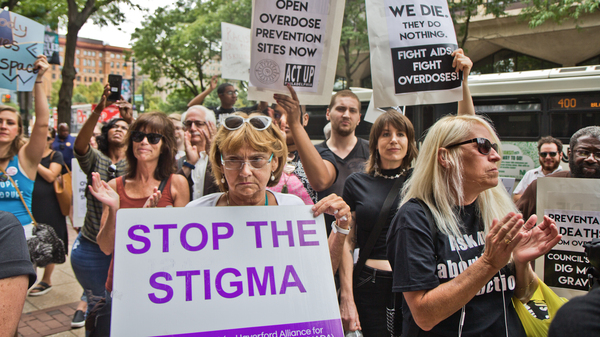 Supporters of safe injection sites in Philadelphia rallied outside this week