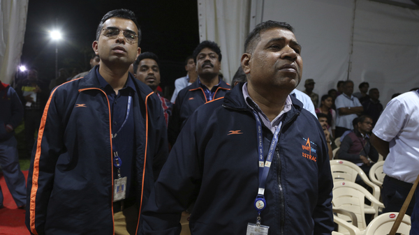 Indian Space Research Organization employees react as they learn that mission control lost communication with its unmanned landing module moments before it touched down on the moon