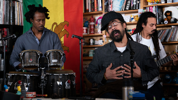 "Damian ""Jr. Gong"" Marley plays a Tiny Desk Concert (Shuran Huang/NPR)."